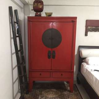 Red Vintage Chinese Wedding Cabinet