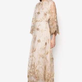 Zalia Embroidered Flare Sleeve Dress in white n gold *new*