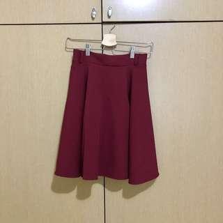 酒紅色圓裙