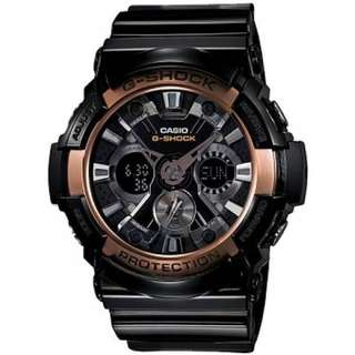 Casio GA-200RG-1A G-SHOCK Mens Black/Rose Gold Watch