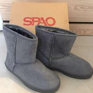 SPAO灰色雪地靴#毛毛鞋 #短靴 #boots #韓款