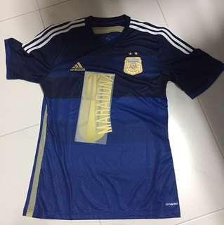 Argentina 2014 World Cup Away Jersey with Maradona Legend Gold Nameset
