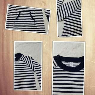 純棉 藍白條紋長版洋裝