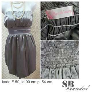 Dress kemben silver satin preloved second bekas impor
