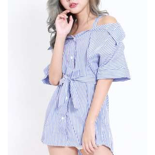 [INSTOCKS] Ribbon Off Shoulder Stripes Boyfriend Shirt Dress