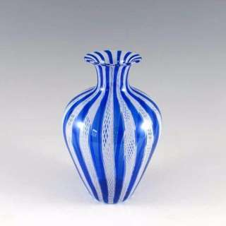 Genuine Murano Glass Vase Vintage 1950s Latticino - blue