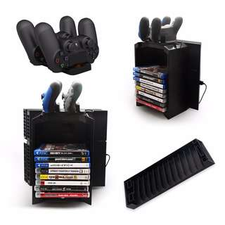 🔥 PLAYSTATION 4 Disk Storage Holder Tower with Controller Charger Dock Station With Micro USB Cable For PS4 Game Controller🔥