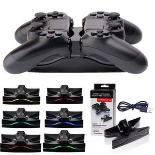 🔥 LED Dual Charger Station Game Controller Charging Stand Dock for PS4 Controller🔥