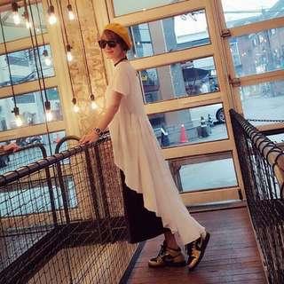 🚚 正韓~前短後長傘狀造型上衣(白、黑)現貨