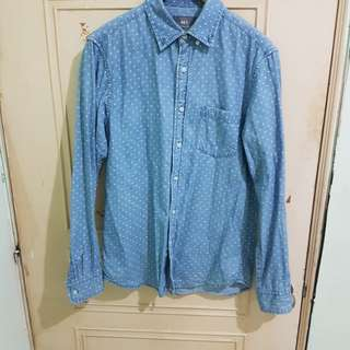 🚚 Net 十字紋 牛仔襯衫
