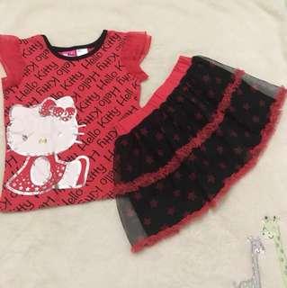 Hello kitty terno blouse and tutu 24mos.