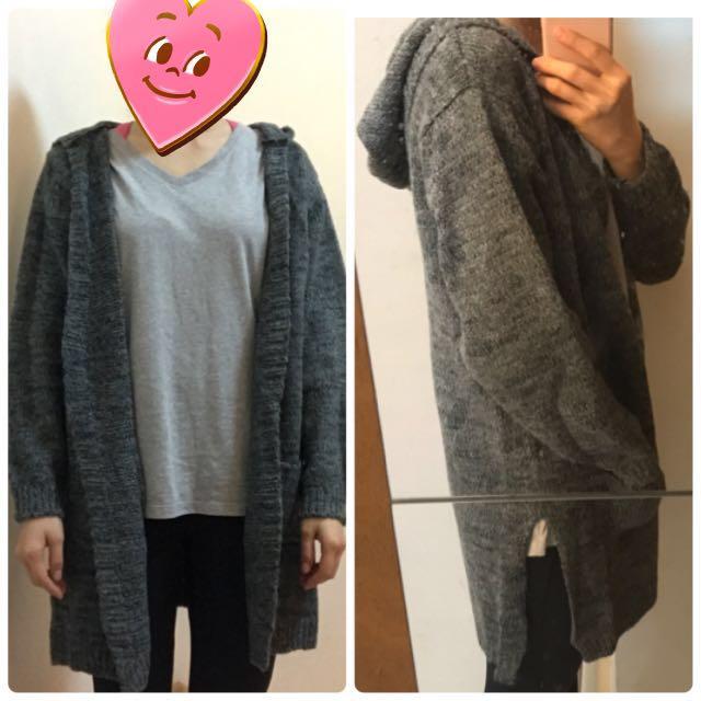 灰色連帽側開衩針織毛衣外套