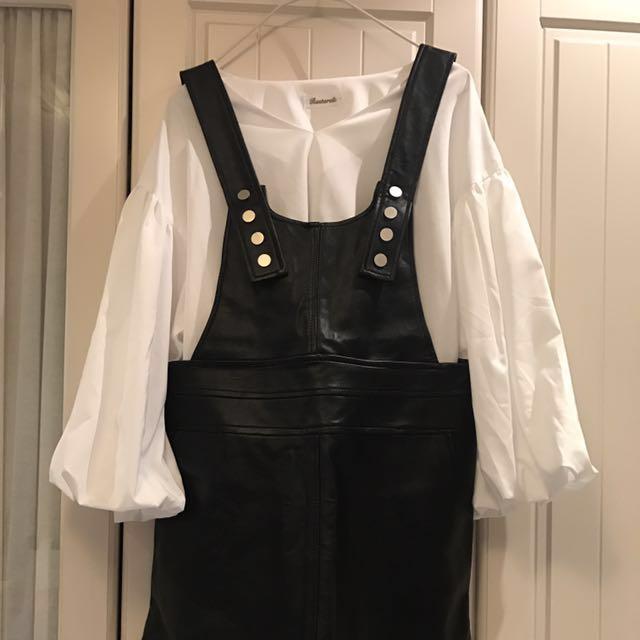 可愛皮質背心短裙