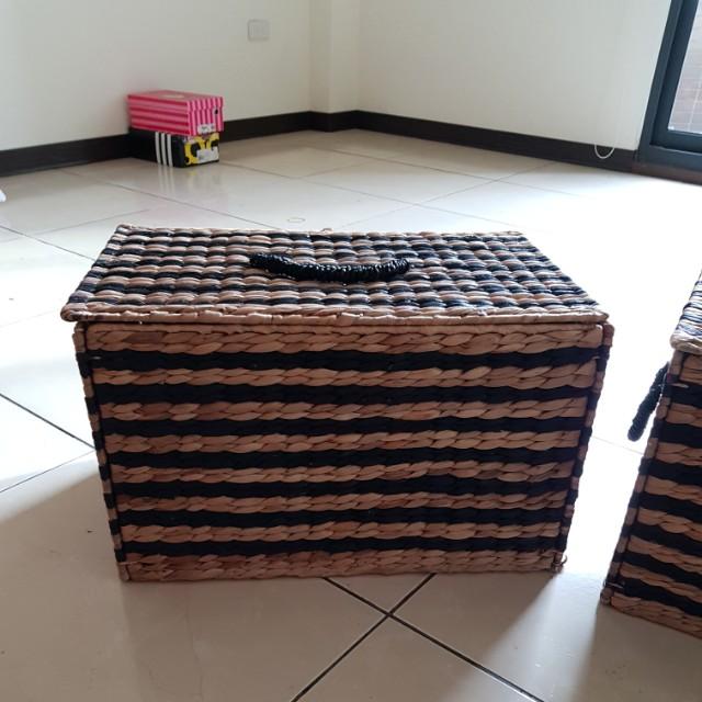 籐編收納箱兩入合售