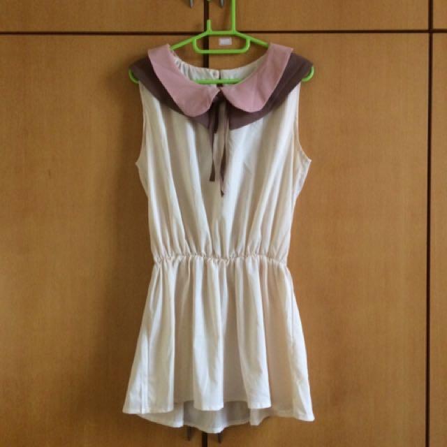 米色氣質雪紡洋裝