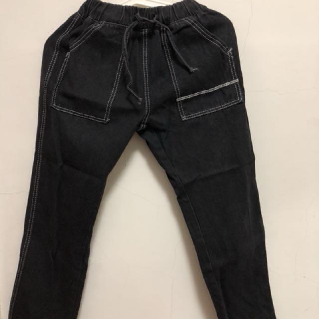 韓版牛仔縫線寬褲