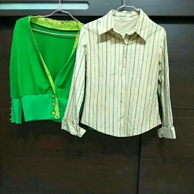 綠色七分小外套+條紋襯衫