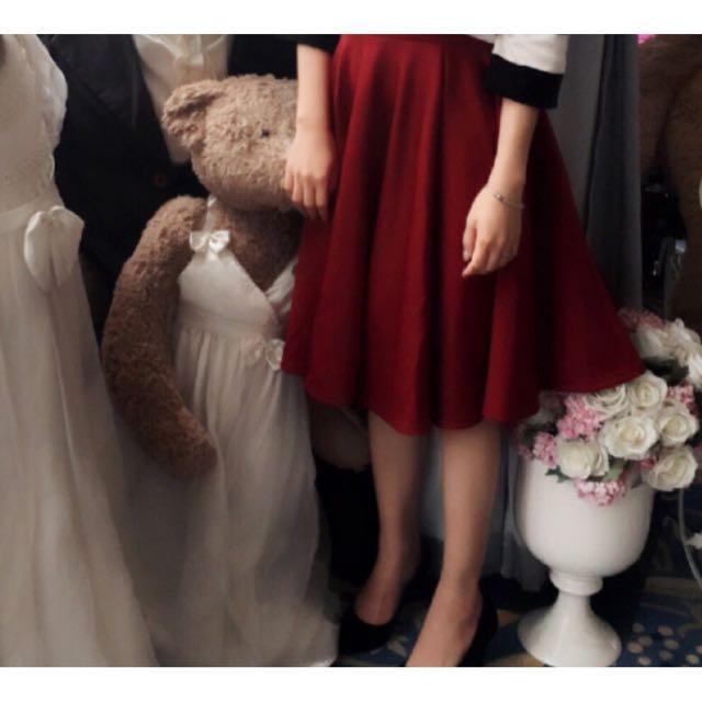 高腰傘狀圓裙