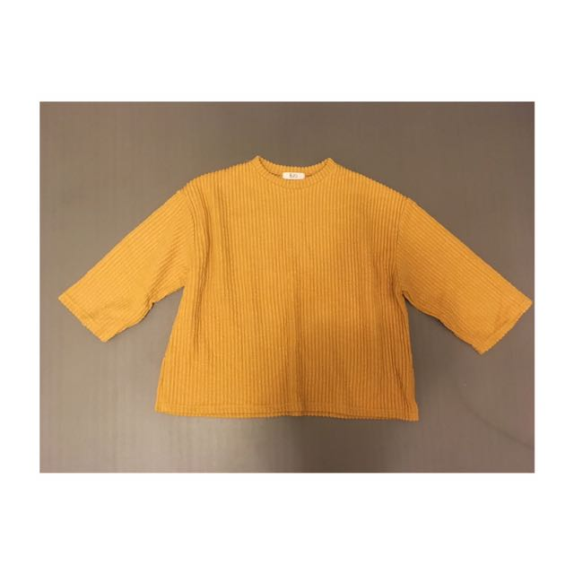 黃色 直紋絨面寬版毛衣