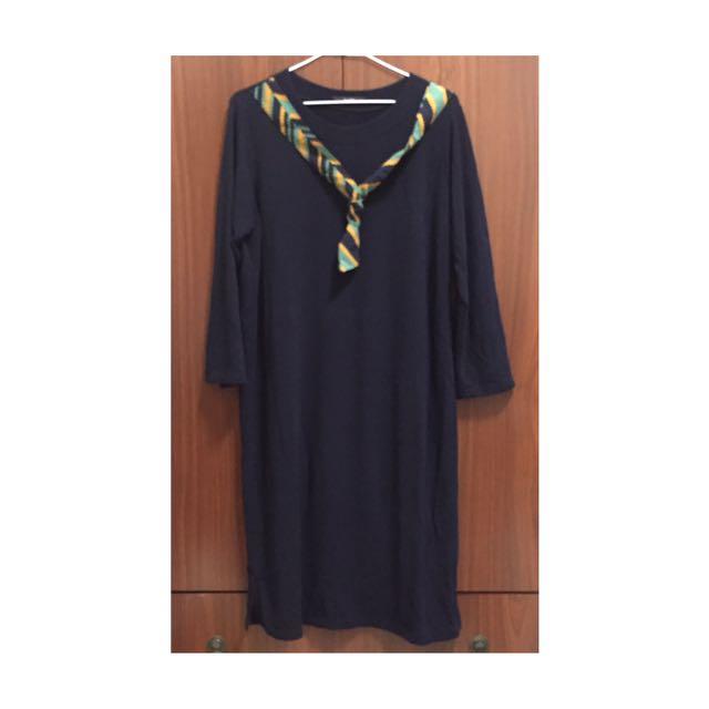 韓貨 學院休閒風綁帶深藍連身裙