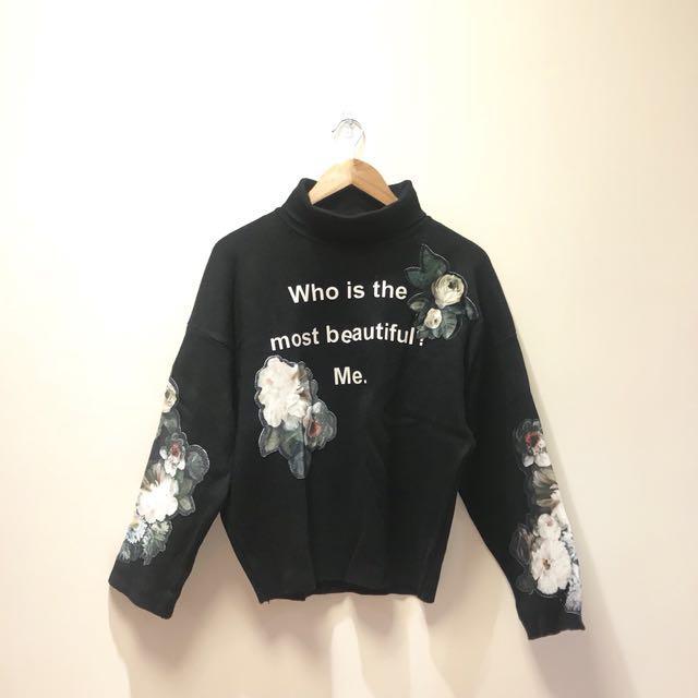全新💙正韓 韓國 黑色字母花卉高領毛衣