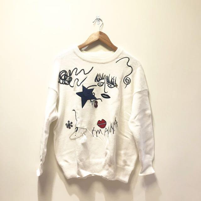 全新💙正韓 韓國 白色圖案刺繡毛衣