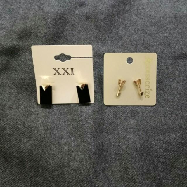 一組賣🕊幾何方形耳環 金色邱比特劍耳環 可愛貼耳 鏡面