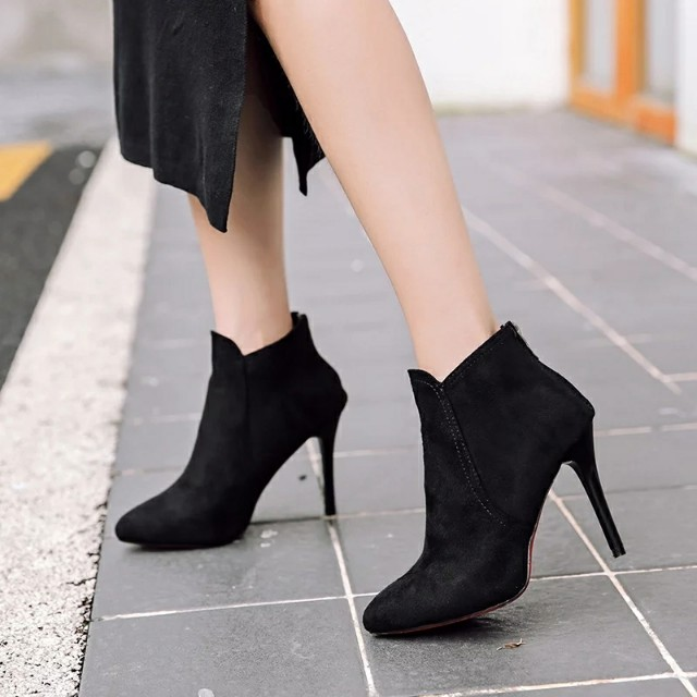 尖頭細跟短靴 踝靴 尖頭細跟鞋高跟鞋 單靴 預購優惠價