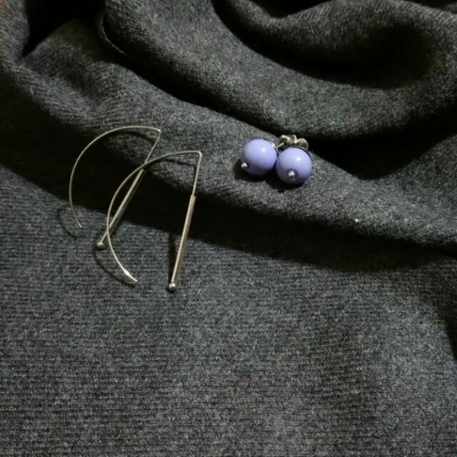 一組賣🕊簡約幾何線條耳環+藍紫色小圓球 細線條耳環 銀色 韓版 氣質款 圓珠