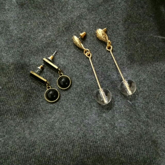 簡約圓球垂墜耳環 金色線條長耳環 透明圓珠 幾何圓形方形 石原聰美 復古日系