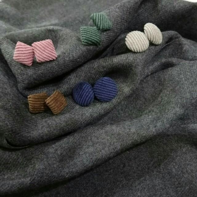 日系秋冬款布面耳環 幾何圓形方形 氣質 燈芯絨 韓版 藍灰粉咖綠