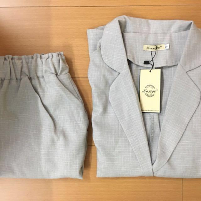 棉麻 西裝外套 小西裝 短褲 套裝 淺灰色 春夏 長袖西裝