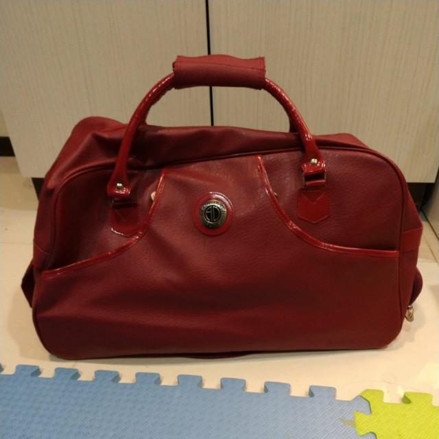 拉桿滑輪旅行袋 行李袋 酒紅色Luggage bag