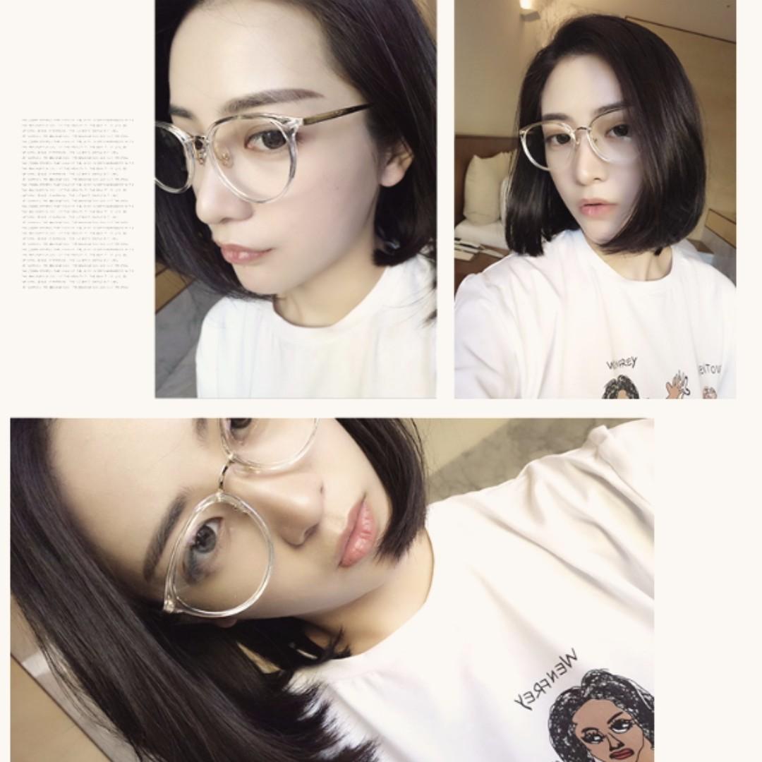 <現貨中>A09-韓國ulzzang 網红同款 圓臉大框眼镜 女生時尚 素顏 透明眼鏡 文青 復古風格