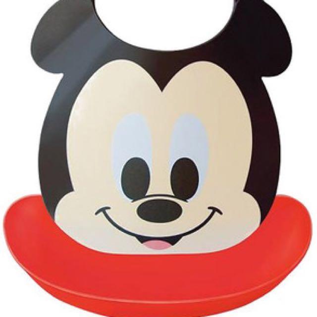 全新Akachan 阿卡醬可拆式立體Mickey 米奇圍兜