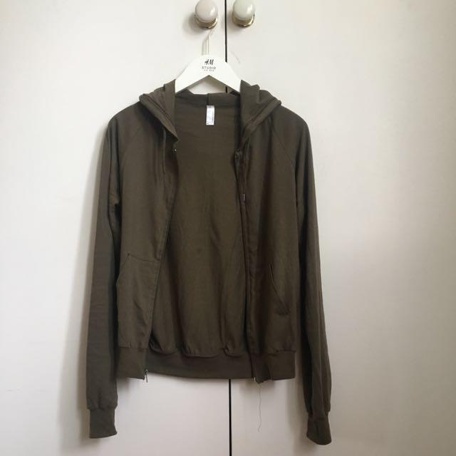 AMERICAN APPAREL Khaki Hoodie Jacket 6