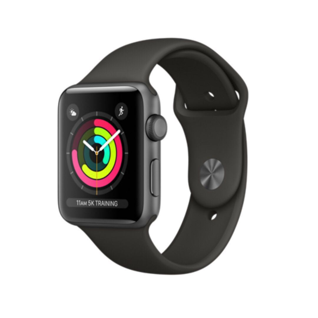 Apple Watch 42mm Series 3 Space Grey Aluminium Case with Grey Sport Band