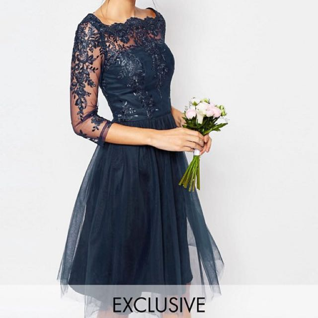ASOS Chi Chi London Bardot Neck Midi Dress with Premium Lace and Tulle Skirt,  Women s Fashion, Clothes, Dresses   Skirts on Carousell 274935a5bc