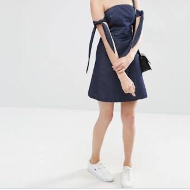 ASOS Indigo Blue Denim Tie Up Off Shoulder A Line Dress XS/6