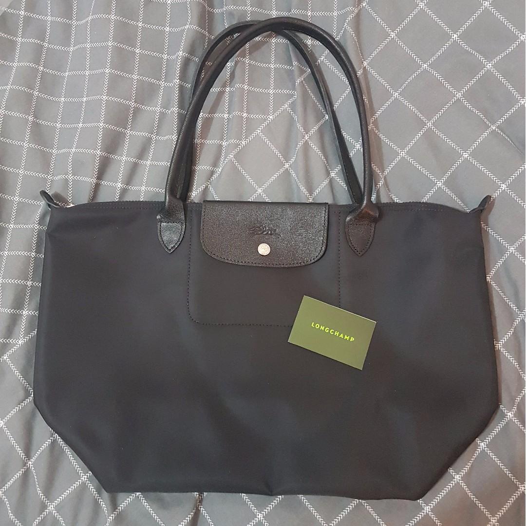 NEW & AUTHENTIC Longchamp Le Pliage Large NEO Long Handle Tote Bag - Black / Noir