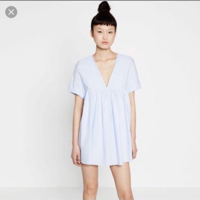 3a2c2b57a00 AUTHENTIC Zara Light Blue Poplin Babydoll Jumpsuit Dress