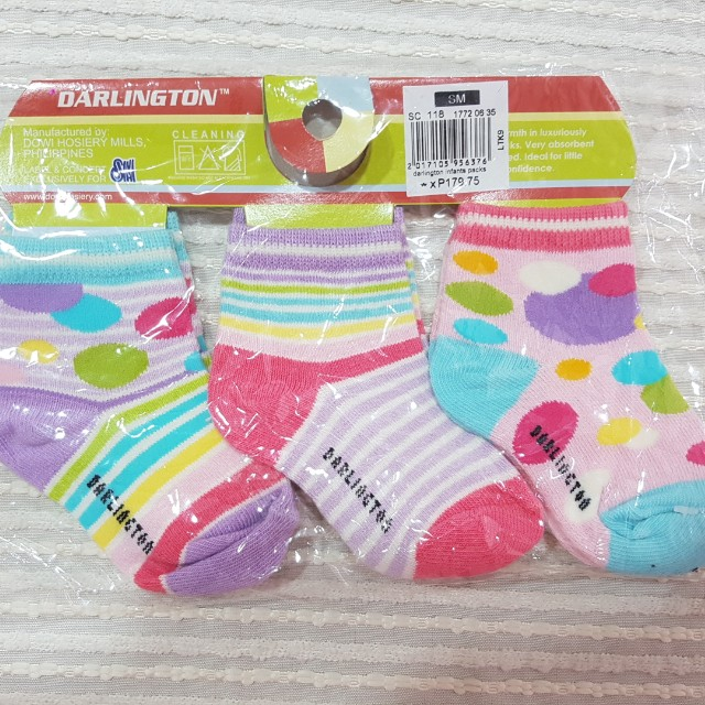Baby Girl socks branded Darlington with tag