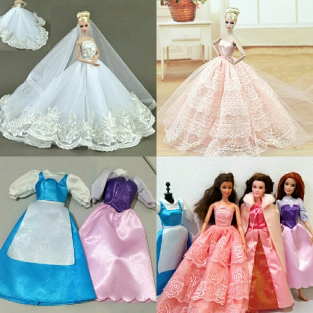 Barbie Doll Dress Bulk Sale Bundle Set Princess Disney Wedding