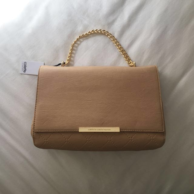 Beige Colette Across Body Quilted Bag