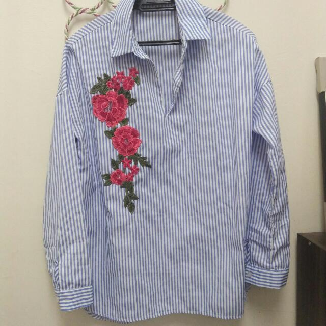Blouse Flowery Blue Stripes