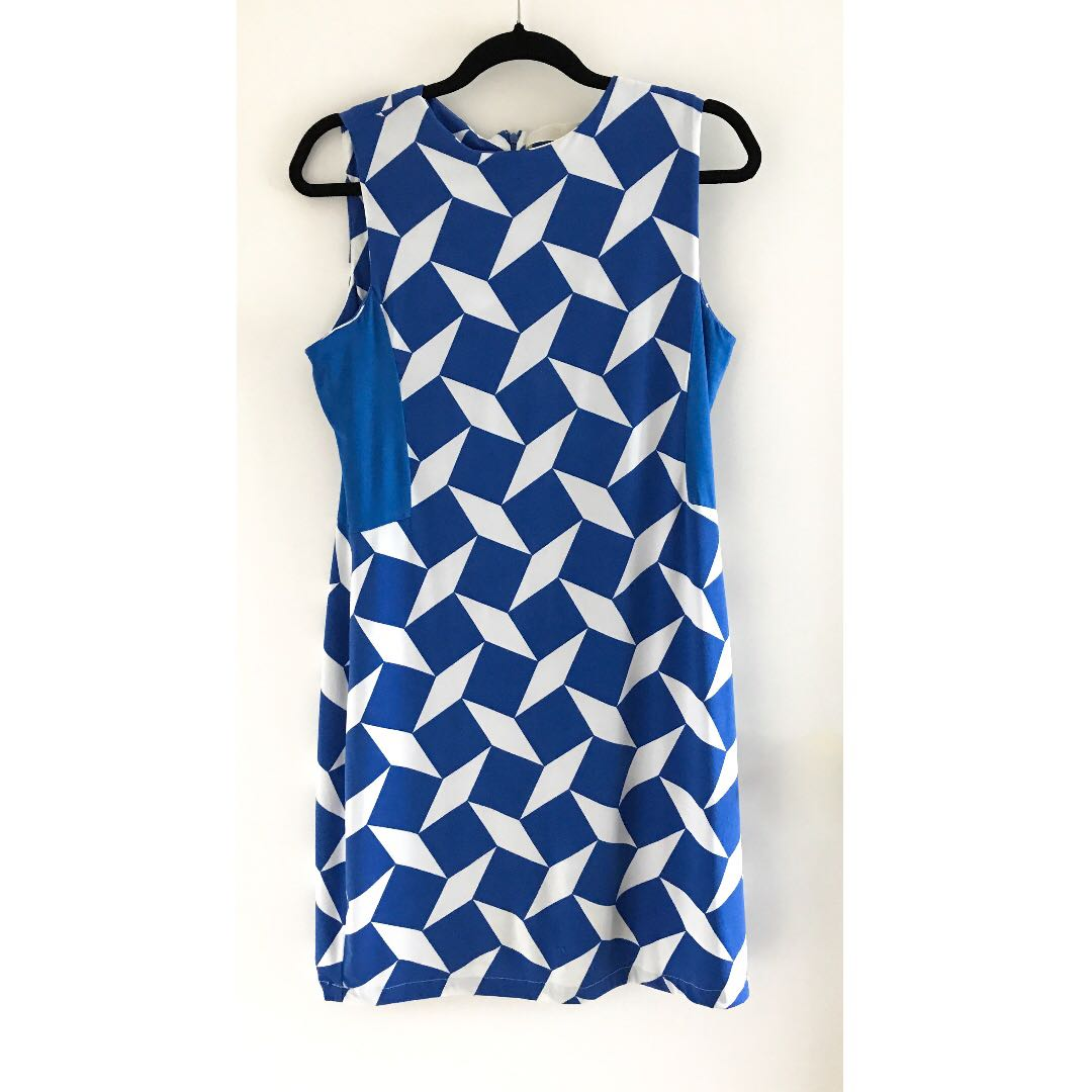 Blue & White Geometric Print Dress