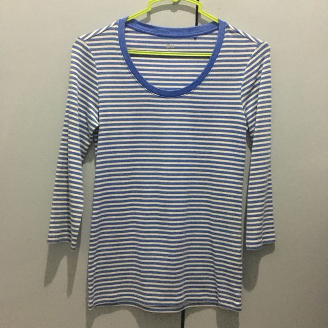 Blue and white striped Uniqlo shirt