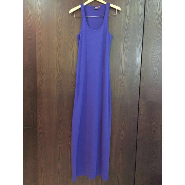 41513386b1bec Blue jersey cotton maxi dress / inner - size S