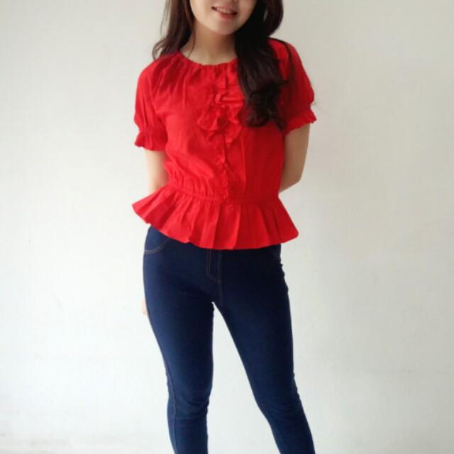Bohemian Red Blouse