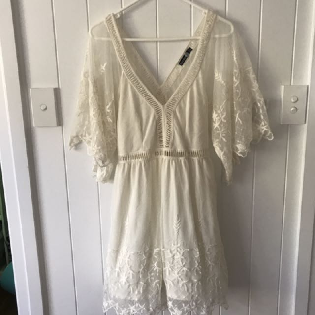 Boohoo White Boho Dress